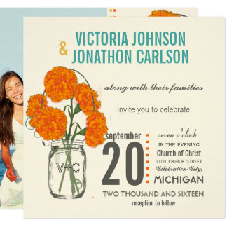Photo Coral Turquoise Rustic Mason Jar Carnations Card