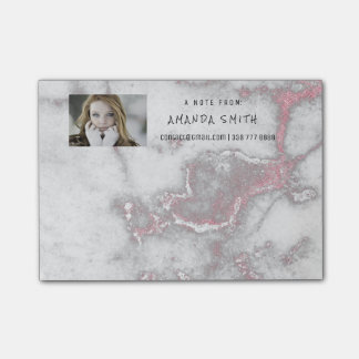 Photo Corporate Customer Service Marble Gold Pink Post-it Notes
