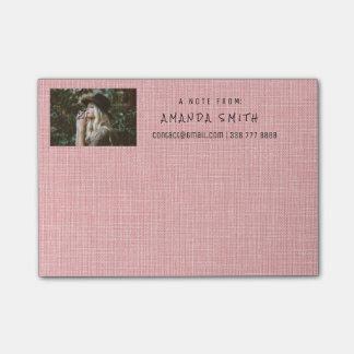 Photo Corporate Rose Pastel Natural Burlap Post-it® Notes