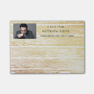 Photo Corporate White Wood Gold Post-it® Notes