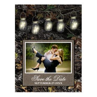 Photo Country Mason Jar Camo Save The Date Cards Postcard