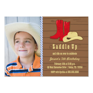 Photo cowboy birthday party invitation