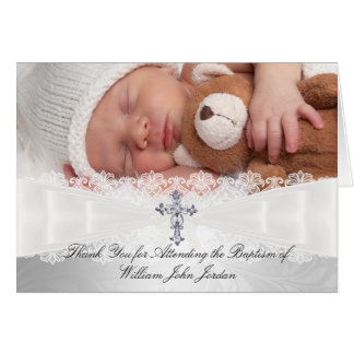 Photo Cross Lace Baptism Thank You Card