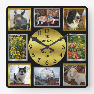 Photo Custom 8 Picture Personalised Black Gold Clock
