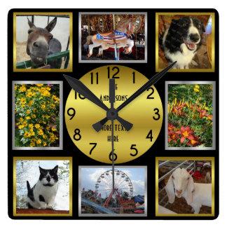 Photo Custom 8 Picture Personalised Black Gold Clock