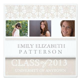 Photo Custom Floral Graduation 13 Cm X 13 Cm Square Invitation Card
