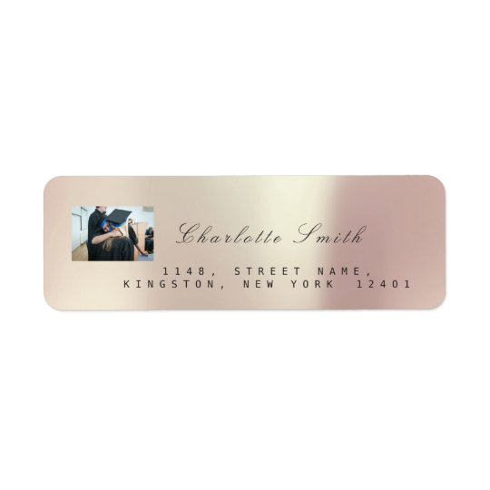 Photo Custom Rose Gold RSVP Adress Metallic VIP Return Address Label