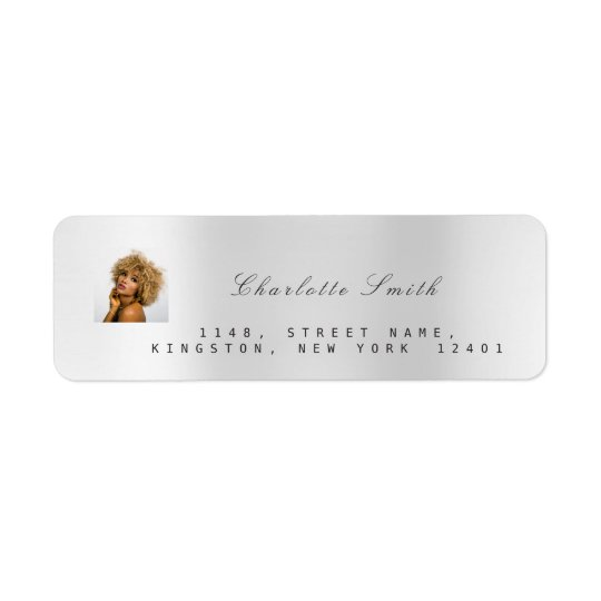Photo Custom Silver Grey RSVP Adress Metallic VIP Return Address Label