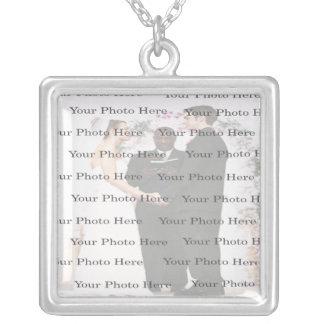 Photo Custom Square Silver Wedding Necklace