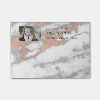 Photo Customer Service Marble Gold Pink Rose Coppe Post-it Notes