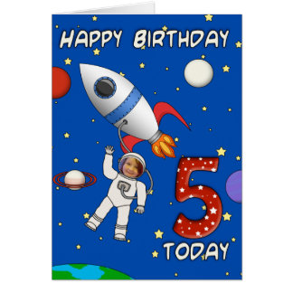 Photo Cutout Astronaut Child's 5th Birthday Card