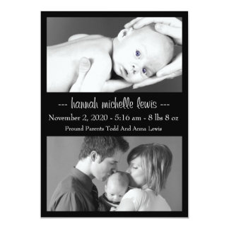 Photo Duo New Baby Announcement (Black)
