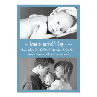 Photo Duo New Baby Announcement (Blue Gray)