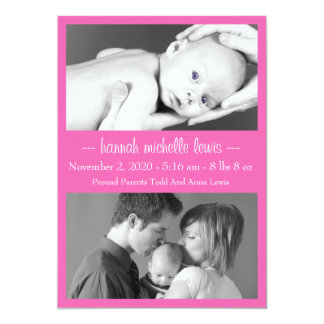 Photo Duo New Baby Announcement (Dark Pink)