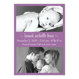 Photo Duo New Baby Announcement (Eggplant Purple)