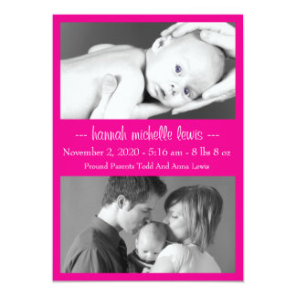 Photo Duo New Baby Announcement (Magenta Pink)