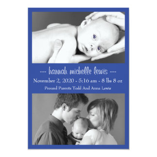 Photo Duo New Baby Announcement (Navy Blue)