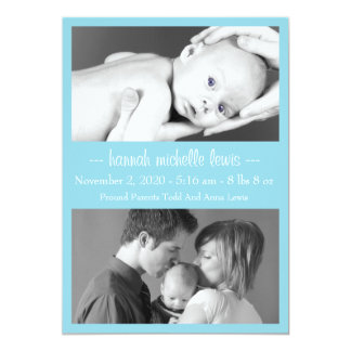 Photo Duo New Baby Announcement (Pale Blue)