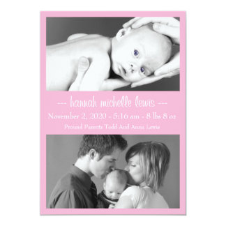Photo Duo New Baby Announcement (Pink)