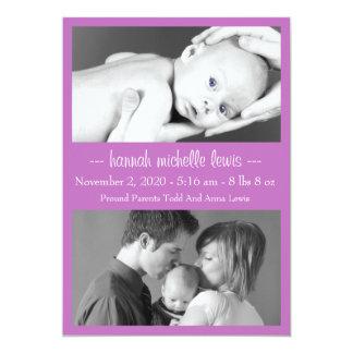 Photo Duo New Baby Announcement (Plum Purple)