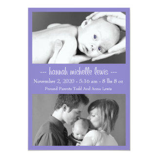 Photo Duo New Baby Announcement (Purple)