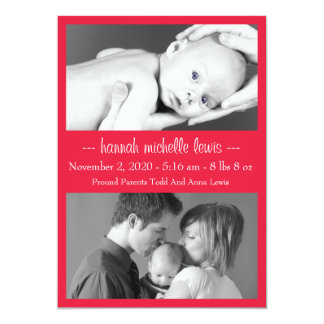 Photo Duo New Baby Announcement (Red)