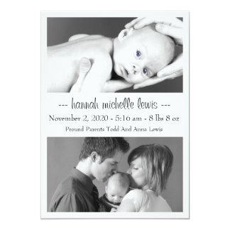 Photo Duo New Baby Announcement (White)