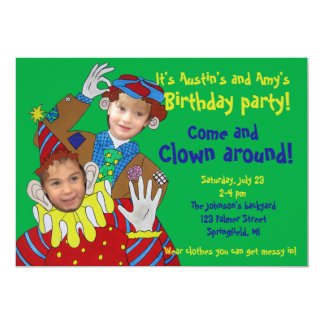 Photo Faces Clowns Birthday Party Card