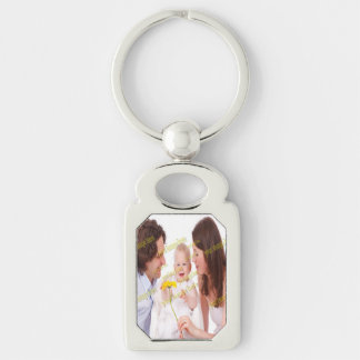 Photo Family Budget Template Silver-Colored Rectangle Key Ring