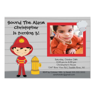 Photo Fireman Boy Firetruck Birthday Party 13 Cm X 18 Cm Invitation Card