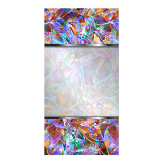 Photo Floral Abstract Stained Glass Customized Photo Card