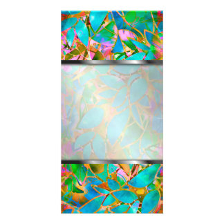 Photo Floral Abstract Stained Glass Photo Card Template