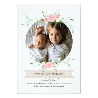 Photo Floral Wreath Birth Announcement