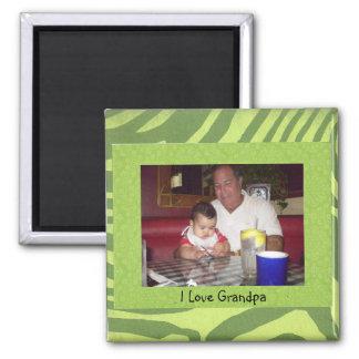Photo Frame Template, I Love Grandpa Square Magnet