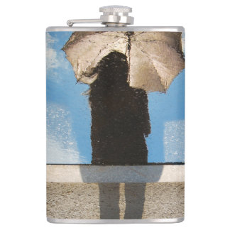 Photo: Girl Holding Umbrella, Reflected Blue Skies Hip Flask