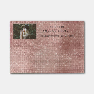 Photo Glam Custom Pink Rose Sparkly Diamond Sequin Post-it Notes