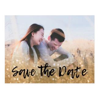 Photo & Gold Glitter Wedding Invitation Save Date Postcard