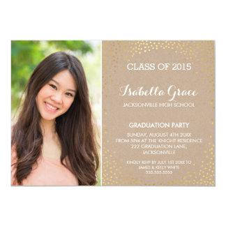 PHOTO GRAD PARTY mini gold confetti eco kraft 13 Cm X 18 Cm Invitation Card