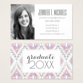 Photo Graduation | Abstract Geometric Aztec Business Card