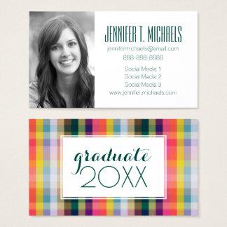 Photo Graduation | Abstract Scottish Plaid Business Card
