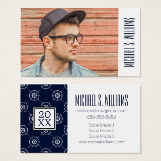 Photo Graduation | Captain'S Wheel Pattern Business Card