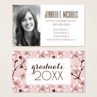 Photo Graduation | Cherry Blossom Flowers Pattern Business Card