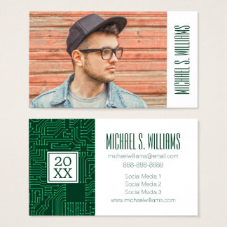Photo Graduation | Computer circuit board pattern Business Card