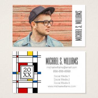 Photo Graduation | De Stijl Pattern Business Card