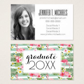 Photo Graduation | Flamingos And Stripes Business Card