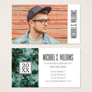Photo Graduation | Green Marble Texture Business Card