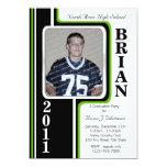 Photo Graduation/ Green Stripe 13 Cm X 18 Cm Invitation Card