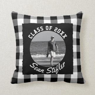 Photo Graduation Keepsake | Black White Plaid Throw Pillow