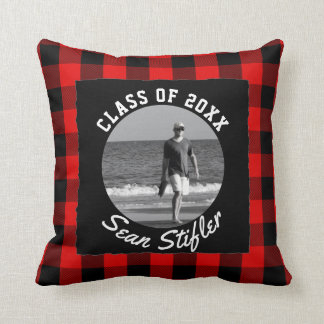 Photo Graduation Keepsake | Rustic Buffalo Plaid Cushion