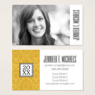 Photo Graduation | Luxury Golden Floral Wallpaper Business Card